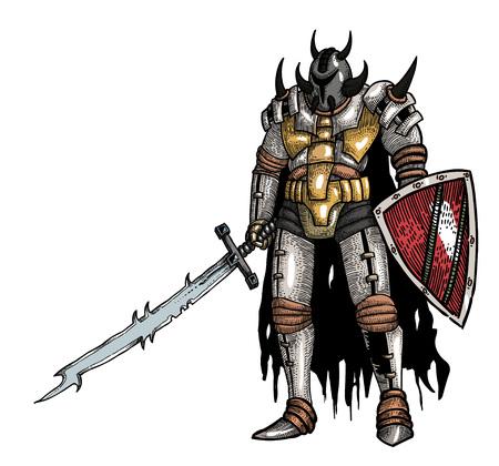 Cartoon image of warrior with sword Illustration