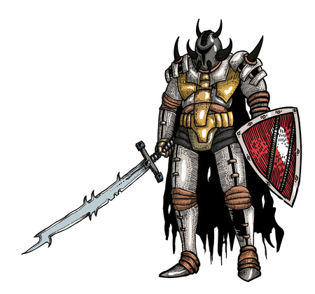 Cartoon image of warrior with sword Illustration