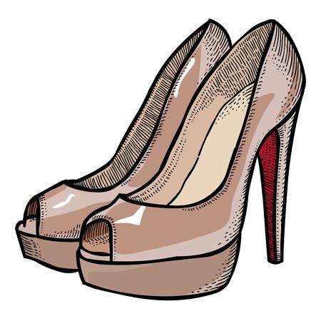 Cartoon image of high heeled shoes Illustration