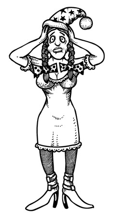 gasping: Cartoon image of stressed woman wearing santa hat Illustration