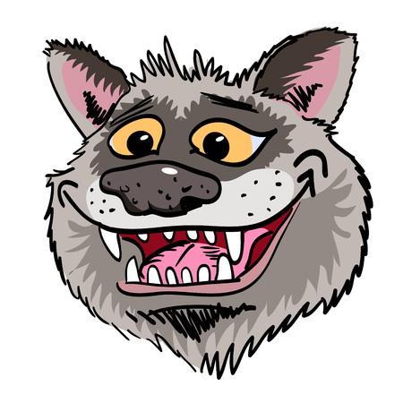 Imagen de la historieta de la cara del lobo que sonríe Ilustración de vector