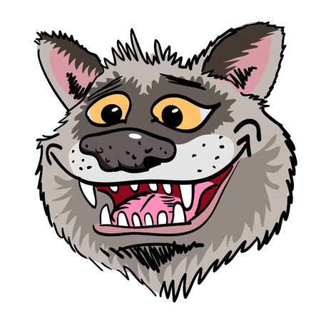 Cartoon image of grinning wolf face Illustration