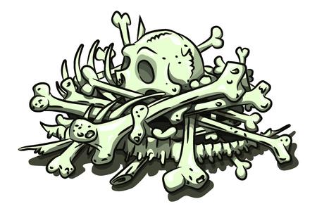 Imagen de dibujos animados de pila de huesos Ilustración de vector