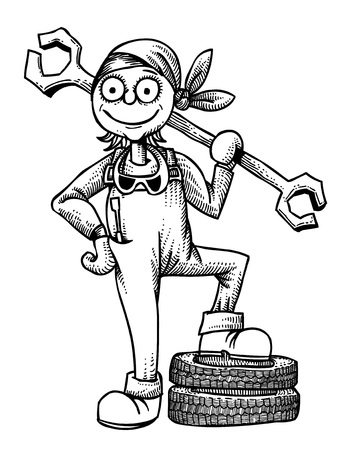 Cartoon image of female mechanic