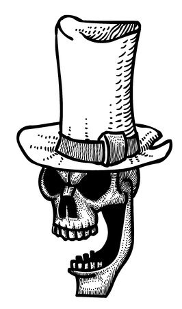 Cartoon image of laughing skull in top hat
