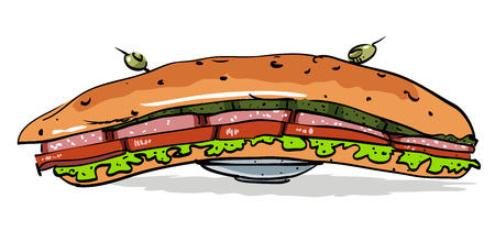 Cartoon image of huge sandwich Illustration