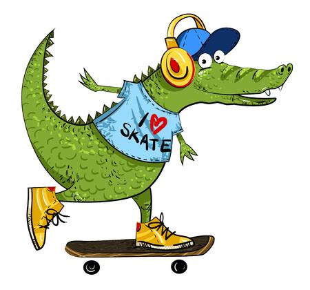 salamandre: Image de dessin animé d'un alligator de skateboard incroyable