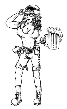 Cartoon image of hard working woman with beer