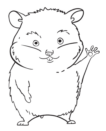 Cartoon image of waving hamster