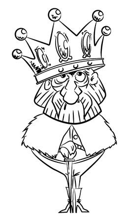 巨大な王冠と王の漫画画像