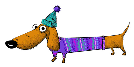 Cartoon image of dachshund Illustration
