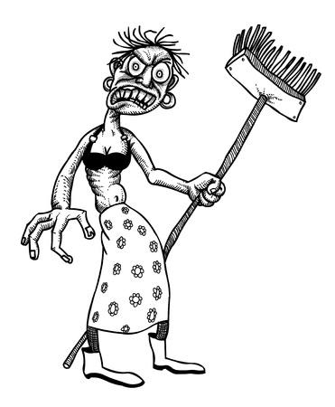 Beeldverhaal beeld van de ondoden monster dame schoonmaken