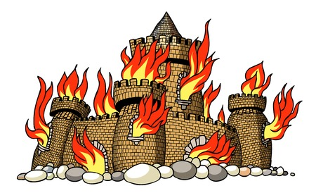 Cartoon image of burning castle