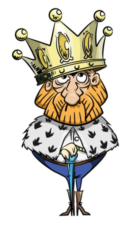 Cartoon image of king with huge crown Illustration