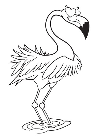 fidelity: Cartoon image of flamingo in love Illustration