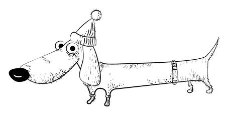 Cartoon image of dachshund Ilustrace