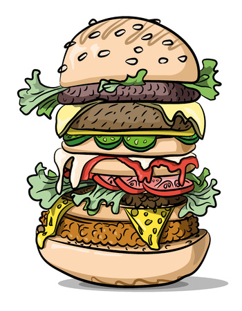 delectable: Cartoon image of tasty burger