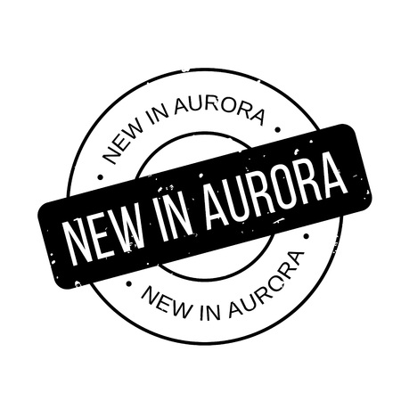 New In Aurora rubber stamp