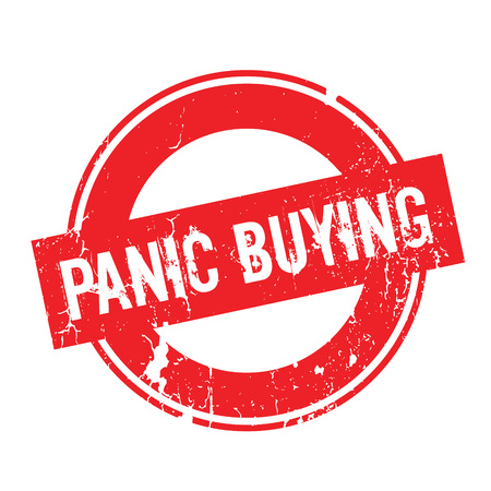 looting: Panic Buying rubber stamp. Grunge design with dust scratches. Effects can be easily removed for a clean, crisp look. Color is easily changed. Illustration
