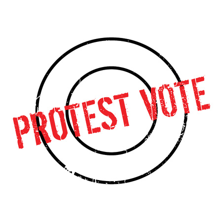 outcry: Protest Vote rubber stamp. Grunge design with dust scratches. Effects can be easily removed for a clean, crisp look. Color is easily changed.