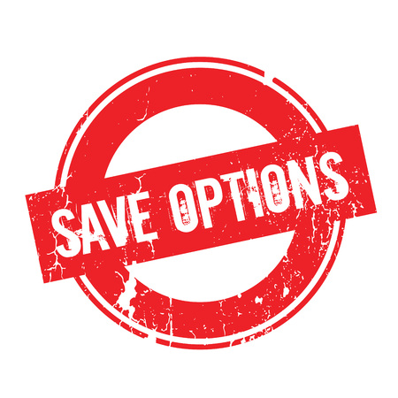 off the hook: Save Options rubber stamp. Grunge design with dust scratches. Effects can be easily removed for a clean, crisp look. Color is easily changed.