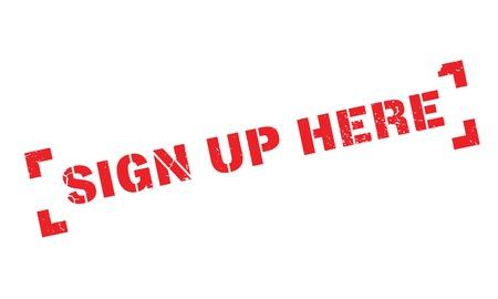 Sign Up Here rubber stamp Illustration