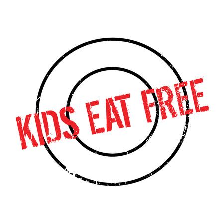 Los Niños Comen El Sello De Goma Libre. Diseño De Grunge Con ...