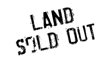 Land Sold Out rubber stamp. Grunge design with dust scratches. Effects can be easily removed for a clean, crisp look. Color is easily changed. Stock Photo