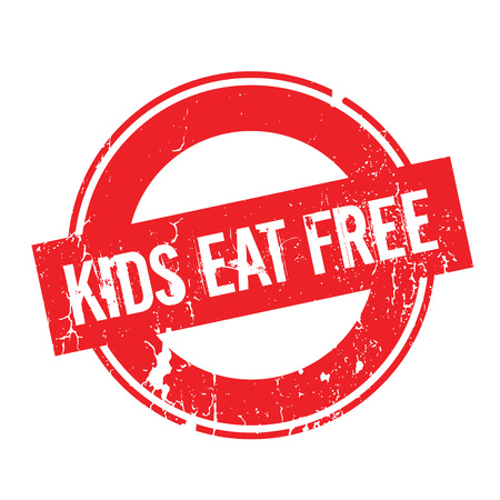 tot: Kids Eat Free rubber stamp. Grunge design with dust scratches. Effects can be easily removed for a clean, crisp look. Color is easily changed.