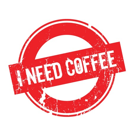 I Need Coffee rubber stamp. Grunge design with dust scratches. Effects can be easily removed for a clean, crisp look. Color is easily changed. Stock Photo