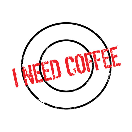 requisite: I Need Coffee rubber stamp. Grunge design with dust scratches. Effects can be easily removed for a clean, crisp look. Color is easily changed. Illustration
