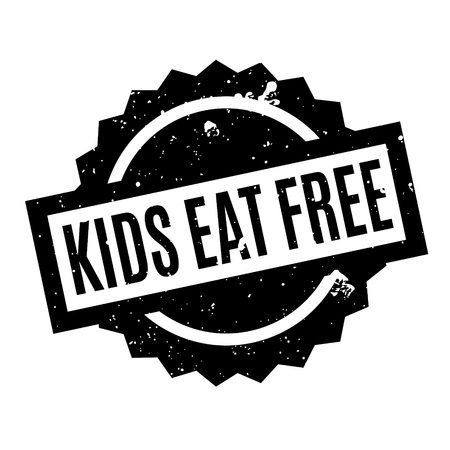 masticate: Kids Eat Free rubber stamp. Grunge design with dust scratches. Effects can be easily removed for a clean, crisp look. Color is easily changed.