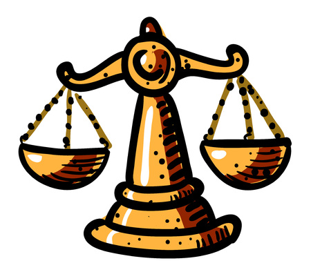 libra: Cartoon image of Balance Icon. Scales symbol Illustration