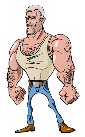 Cartoon image of tough man