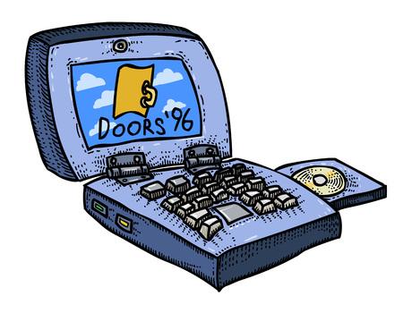 Cartoon image of laptop computer Illustration