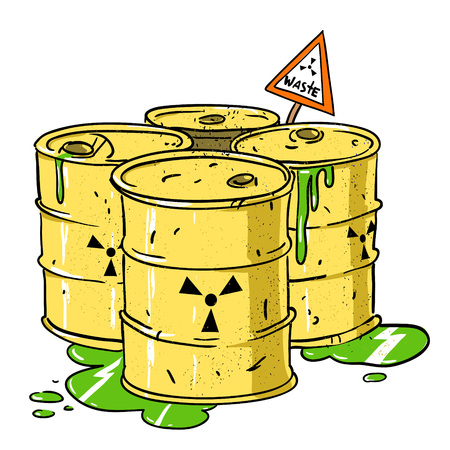 Cartoon image of radioactive waste. An artistic freehand picture.
