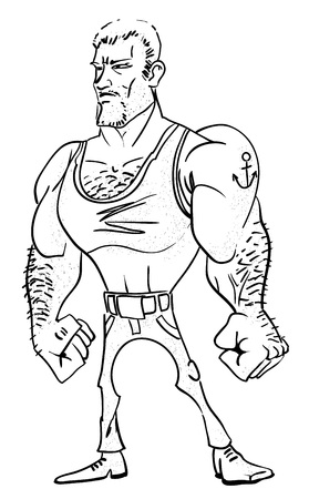 conditioned: Cartoon image of tough man