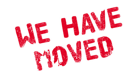 transferred: We Have Moved rubber stamp Illustration