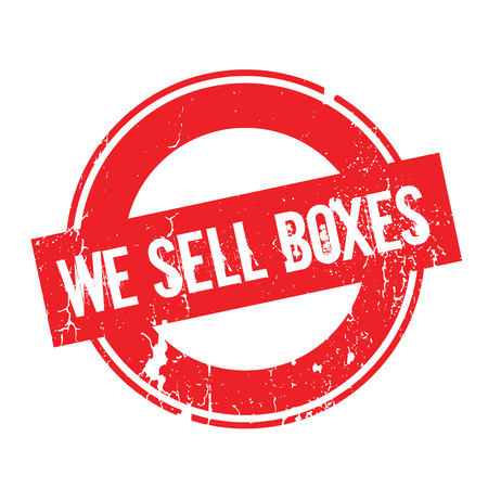 We Sell Boxes rubber stamp. Grunge design with dust scratches. Effects can be easily removed for a clean, crisp look. Color is easily changed. Illustration