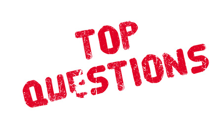 questioning: Top Questions rubber stamp. Grunge design with dust scratches. Effects can be easily removed for a clean, crisp look. Color is easily changed. Illustration