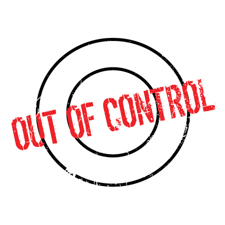 Out Of Control rubber stamp. Grunge design with dust scratches. Effects can be easily removed for a clean, crisp look. Color is easily changed. Illustration