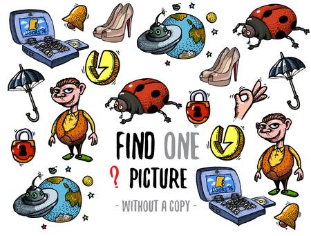 Trouver une image sans copie. Jeu éducatif pour les enfants avec des personnages de dessins animés. Banque d'images - 78658360