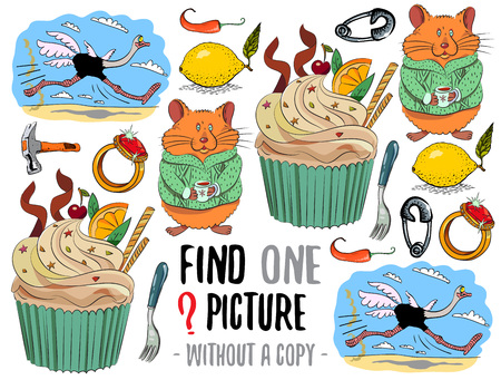funny pictures: Find one picture without a copy. Educational game for children with cartoon characters.