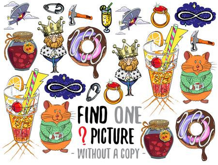 identical: Find one picture without a copy. Educational game for children with cartoon characters.