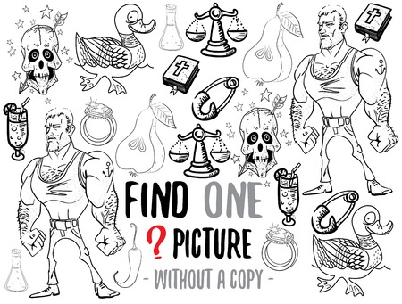 funny pictures: Find one picture without a copy. Educational game for children with cartoon characters. Characters ready for colouring.
