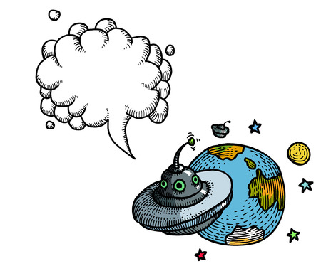 flying saucer and planet-100 Illustration
