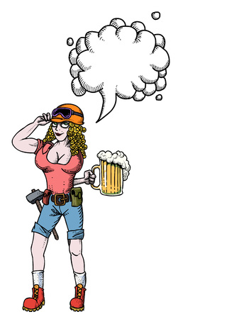 beer stein: hard working woman with beer-100