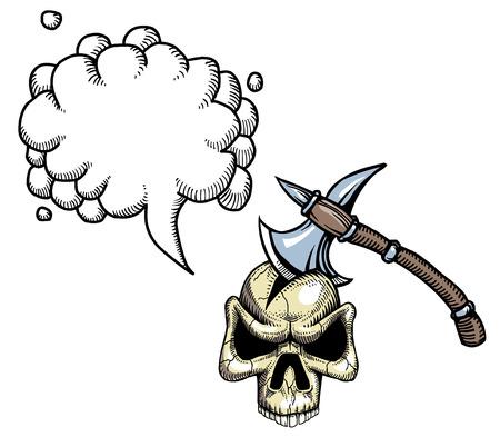 axe in skull-100 Illustration