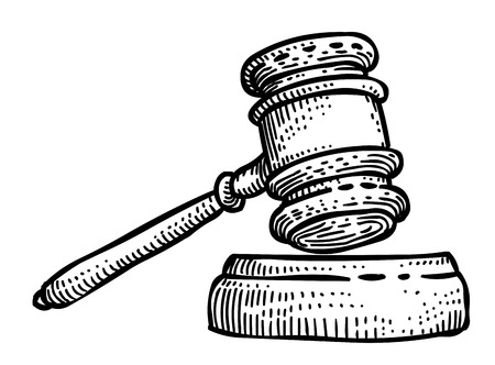 Cartoon image of Law Icon. Judge Gavel symbol