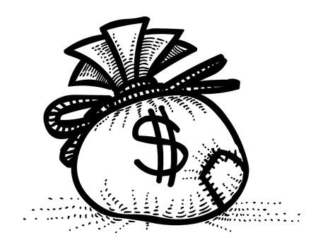 Cartoon image of Money bag Icon. Money symbol